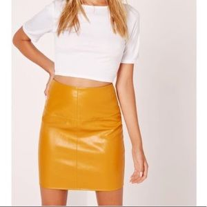 Missguided Faux Leather Mustard Miniskirt